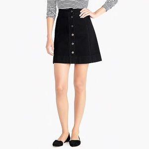 J. Crew button front black denim mini skirt